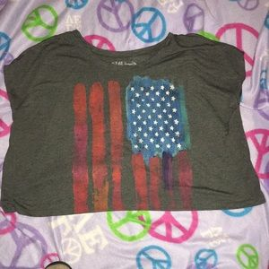 LOL Vintage cropped flag tee. Size XL. Oversized